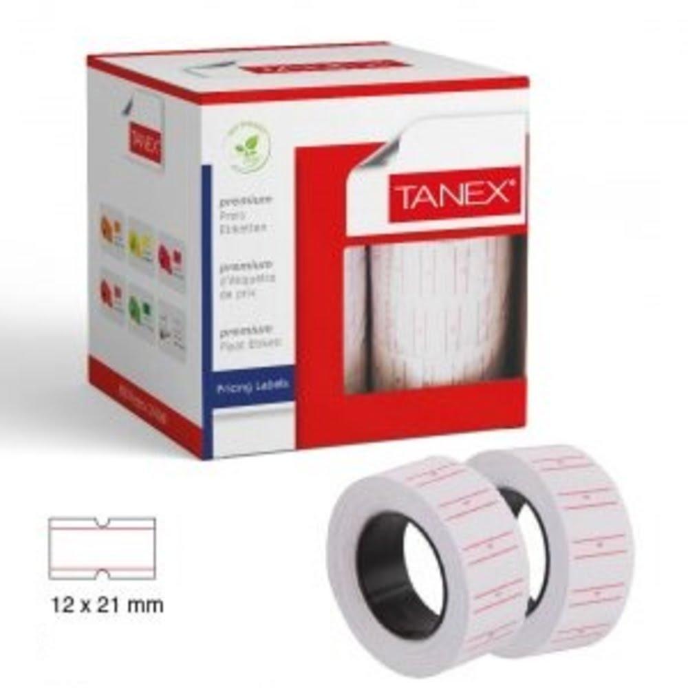 Etichete de pret 21 x 12 mm, 800buc/rola, 6 role/set, TANEX - albe