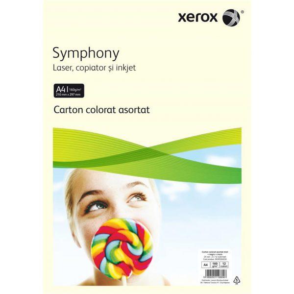 Carton color A4 asortat XEROX Symphony pastel si intens, 160 g/mp, 24 coli/top