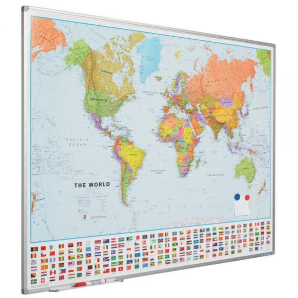 Harta politica a lumii 90 x 120 cm, profil aluminiu, SMIT