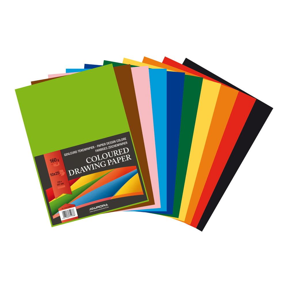 Carton color A4 160g/mp, 250 coli/top, AURORA Raphael - 10 culori intense