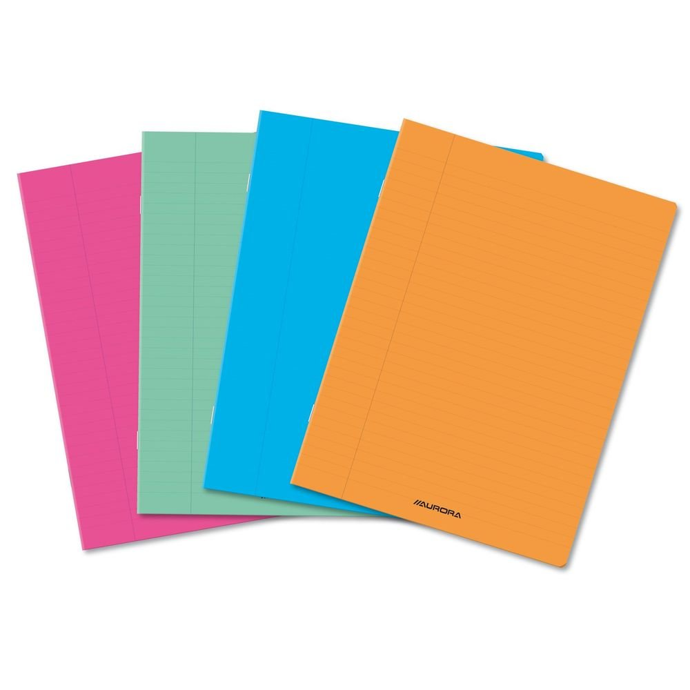 Caiet A4 36 file ,liniat stanga, coperta transparent color, AURORA