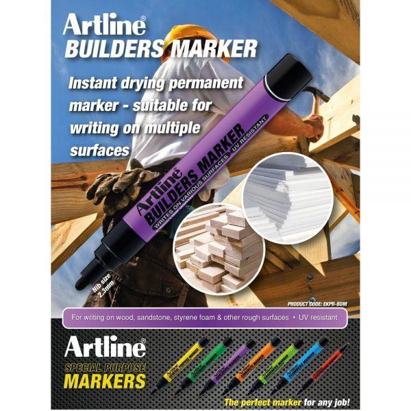 Marker ARTLINE pentru constructori, varf rotund 2.3mm - negru