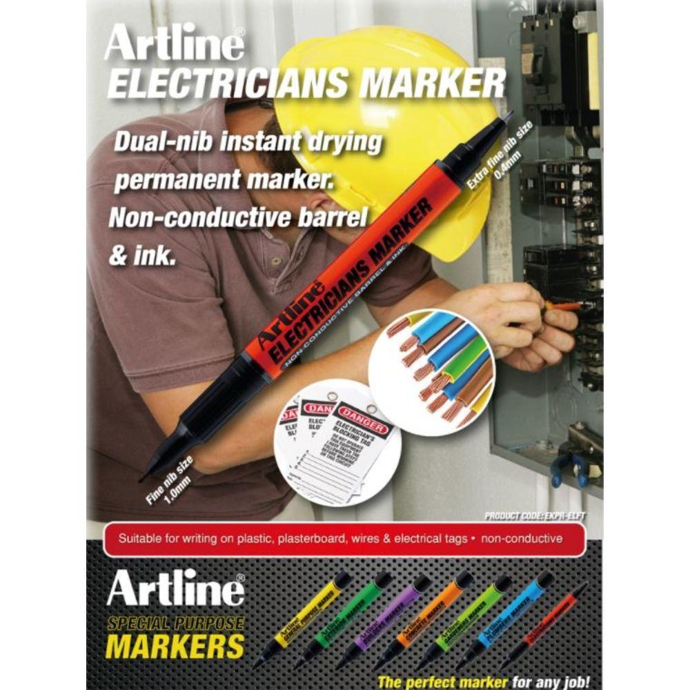 Marker pentru electricieni Artline, 2 capete, varf rotund 0.4/1.0mm
