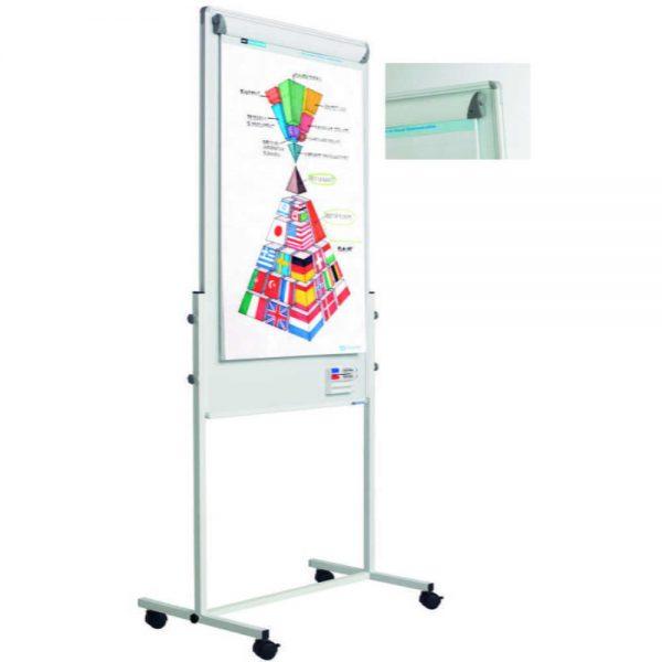 Flipchart magnetic cu rotile SMIT Combi (tabla alba, flipchart, panou textil)