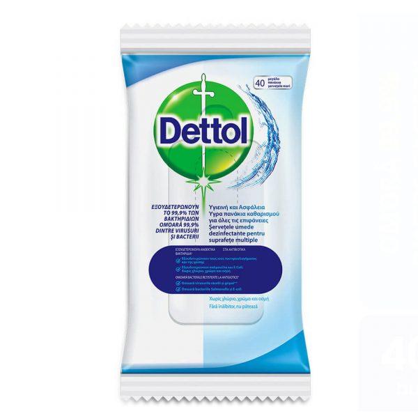 Servetele umede antibacteriene DETTOL, 40 buc/pachet