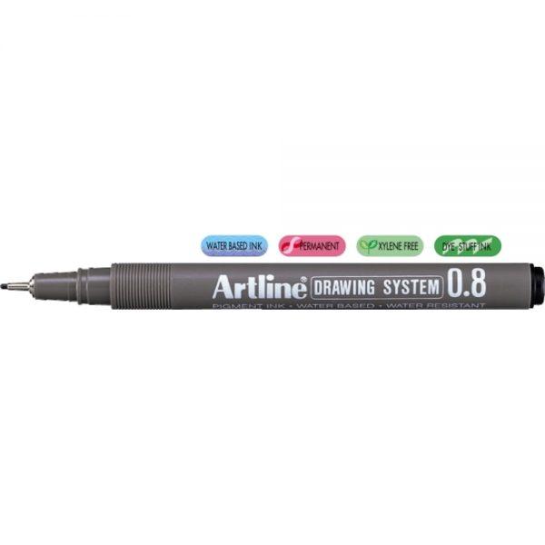 Marker pentru desen tehnic ARTLINE, varf fetru 0.8mm