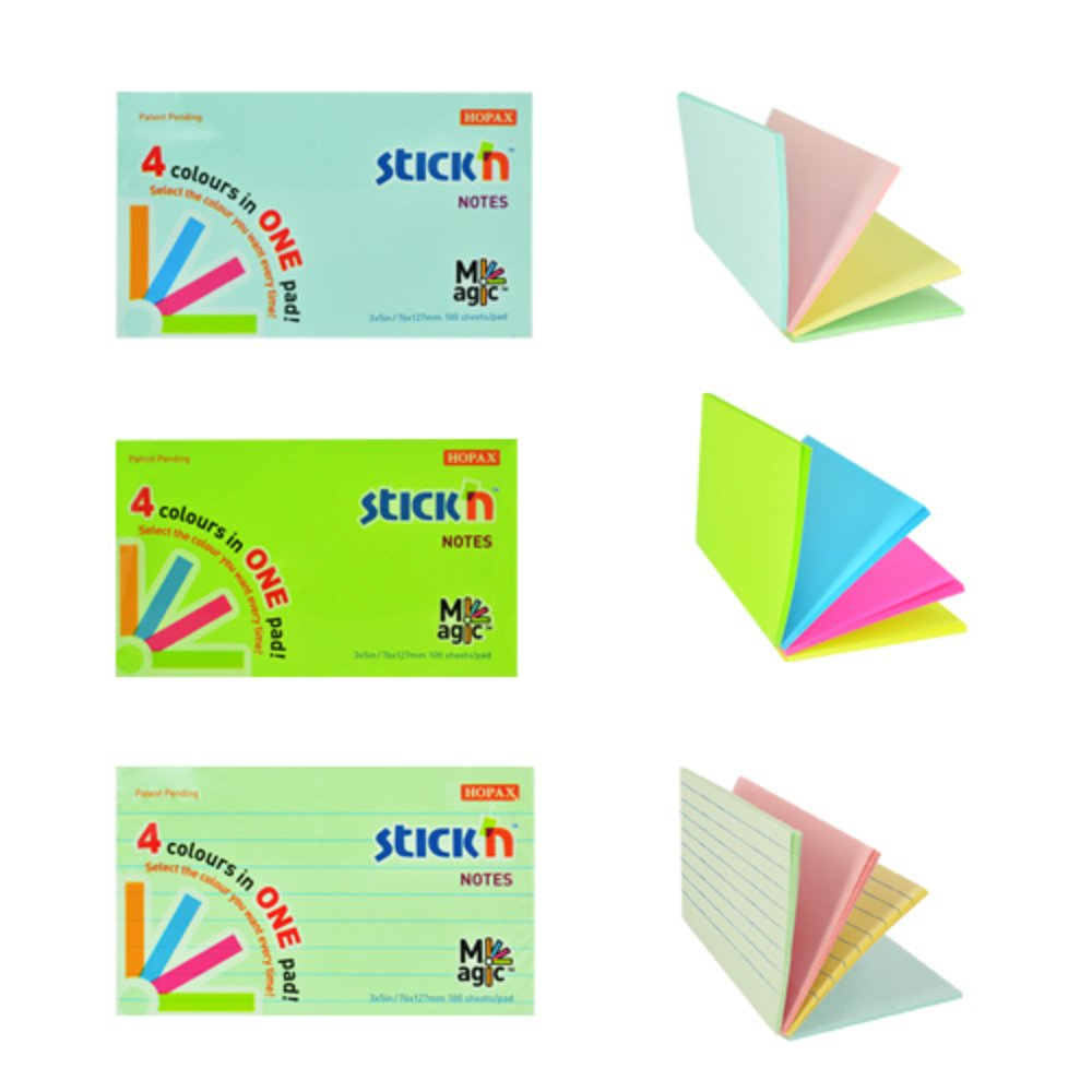 Notes adeziv 76x127 mm, 100 file, Magic Stick'n - 4 culori neon