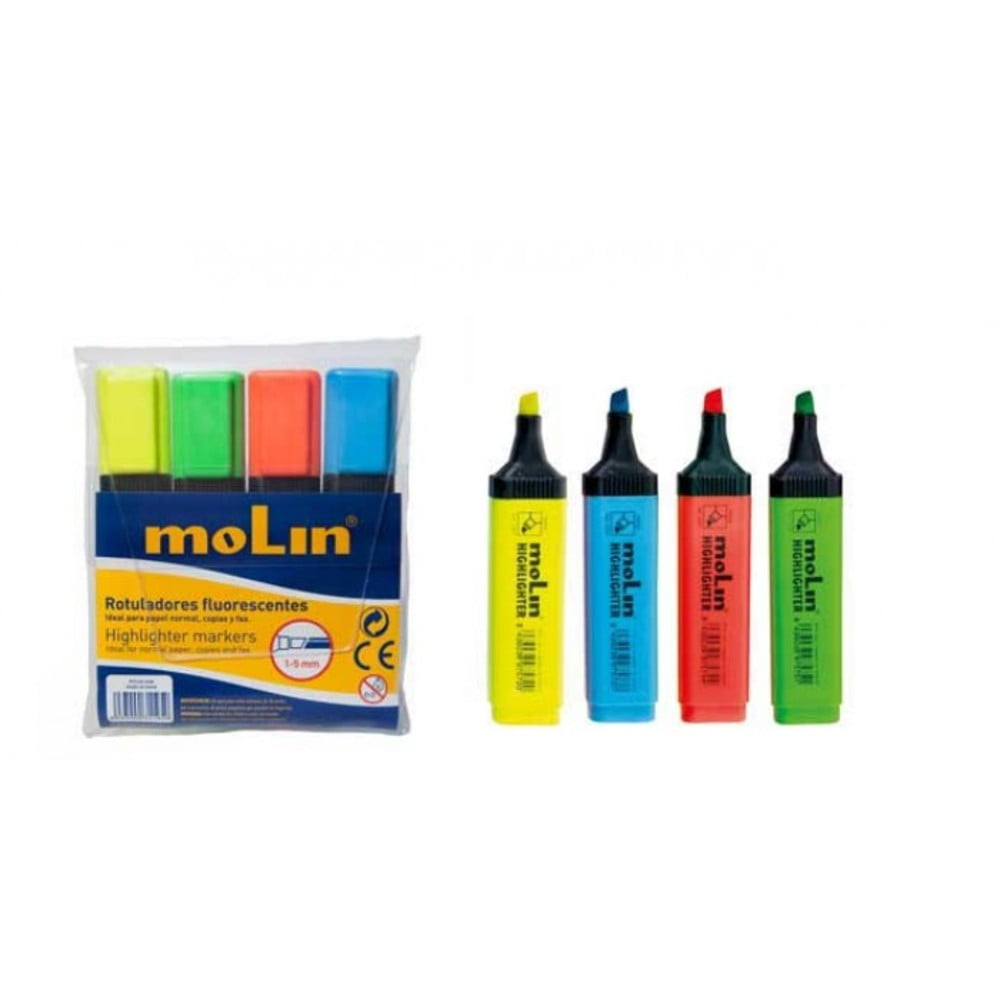 Textmarker varf lat, 4 culori/set, MOLIN