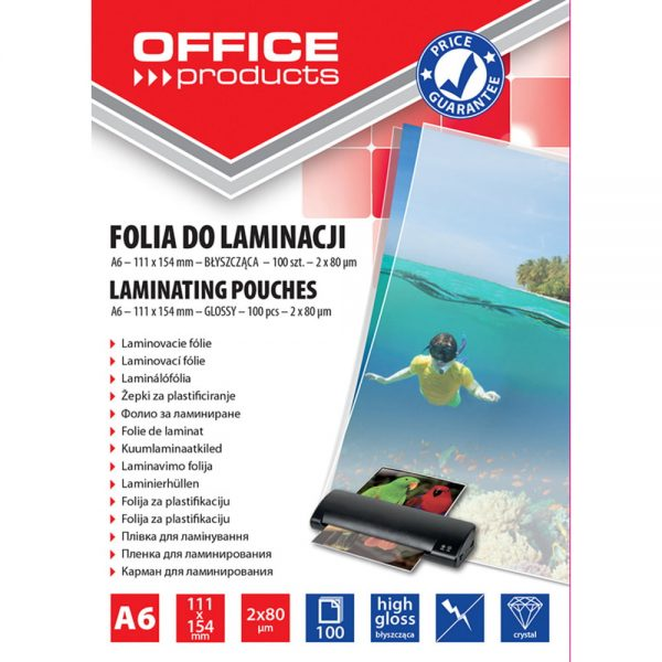 Folie laminare A6, 80 microni, 100buc/top, Office Products