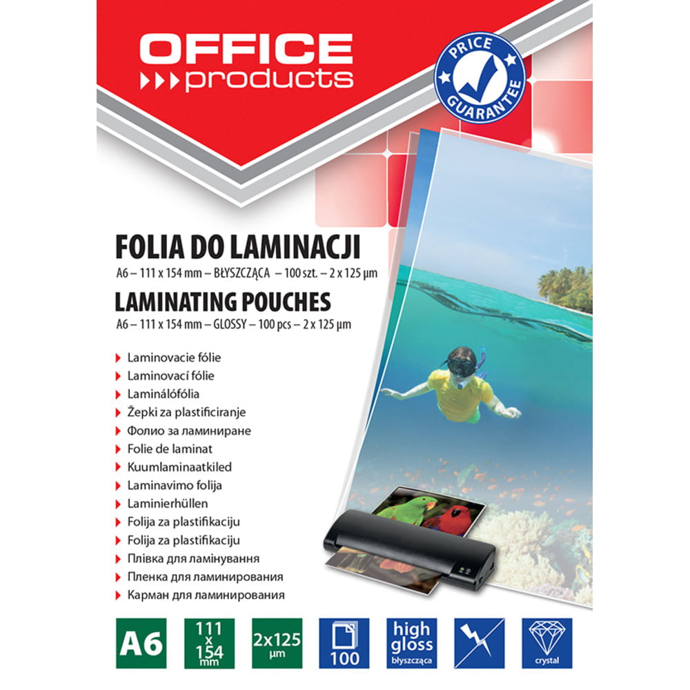 Folie laminare A6, 125 microni, 100buc/top, Office Products