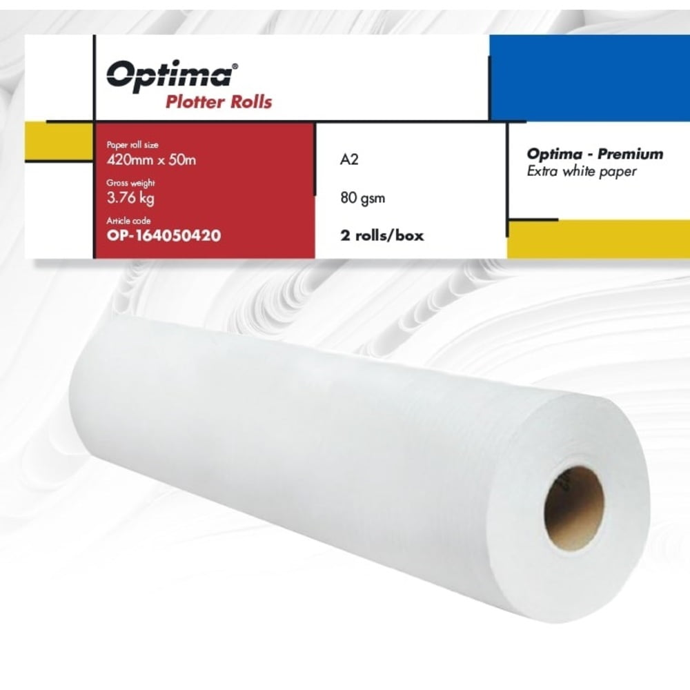 Rola plotter A2, 420mm x 50m, 2 role/cutie, 80gr, Optima - Premium