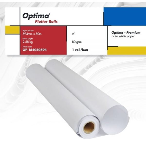 Rola plotter A1, 594mm x 50m, 80gr, Optima - Premium