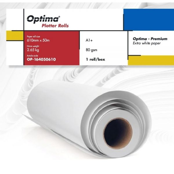 Rola plotter A1+, 610mm x 50m, 80gr, Optima - Premium