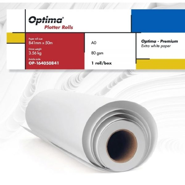 Rola plotter A0 841mm x 50m, 80gr, Optima - Premium