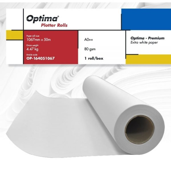 Rola plotter A0++,1067mm x 50m, 80gr, Optima - Premium