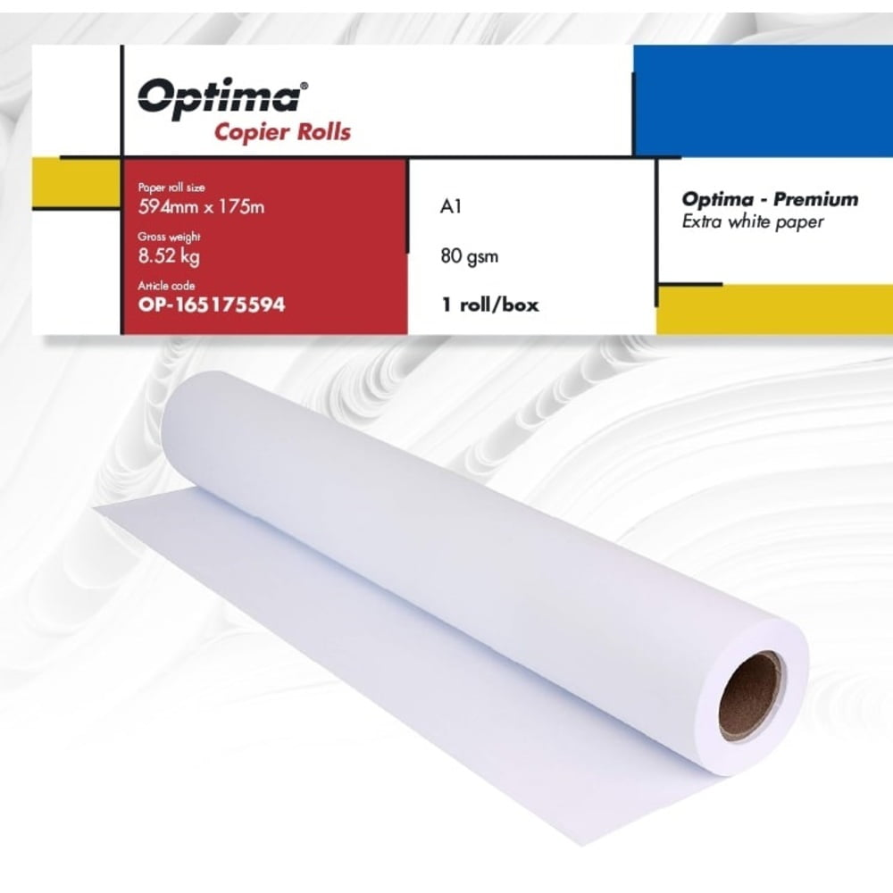 Rola copiator A1 594mm x 175m, 80gr, Optima - Premium