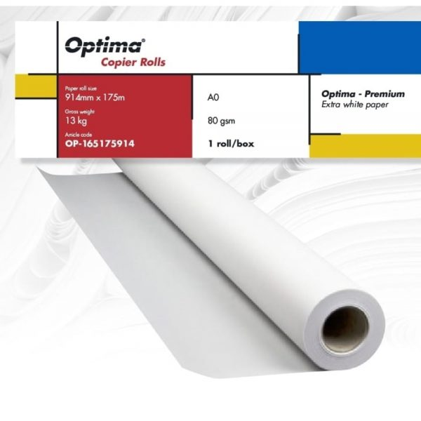 Rola copiator A0+ 914mm x 175m, 80gr, Optima - Premium
