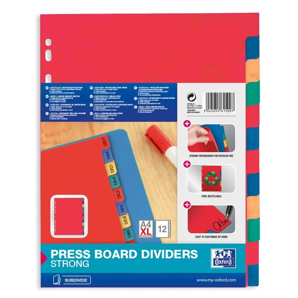 Separatoare carton color, A4 XL, 225g/mp, 12 culori/set, OXFORD