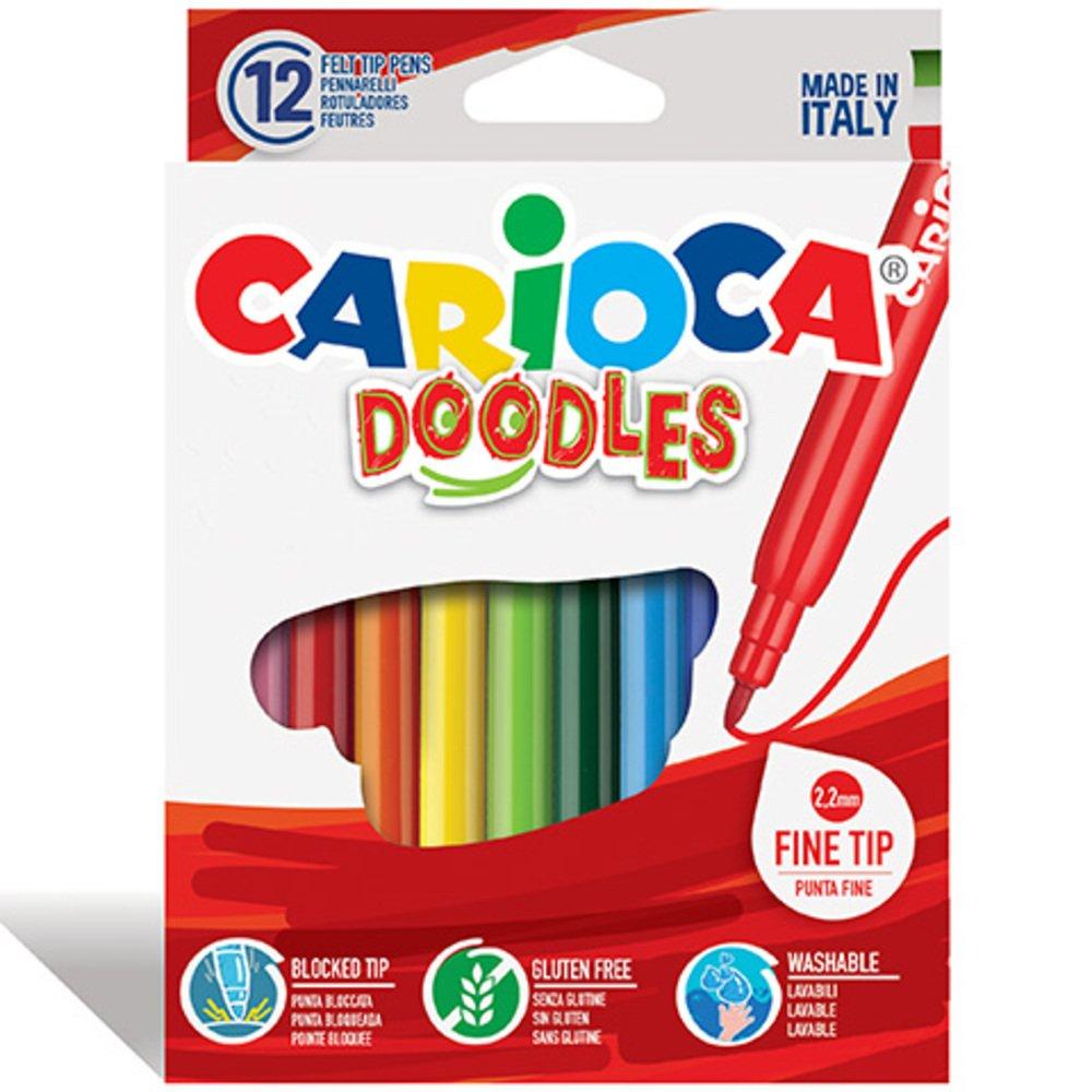 Carioci super lavabile, varf subtire - 2.2mm, 12 culori/cutie, CARIOCA Doodles