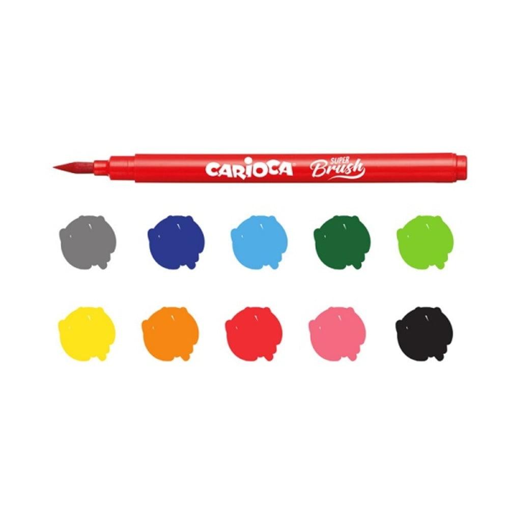 Carioci varf flexibil tip pensula, 20 culori/cutie, CARIOCA Super Brush