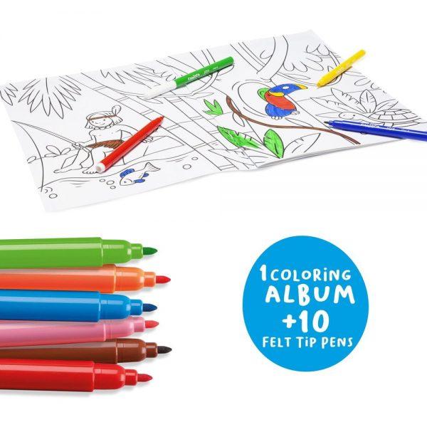 Set articole creative, cu album pentru colorat CARIOCA Create & Color - Sea & Jungle