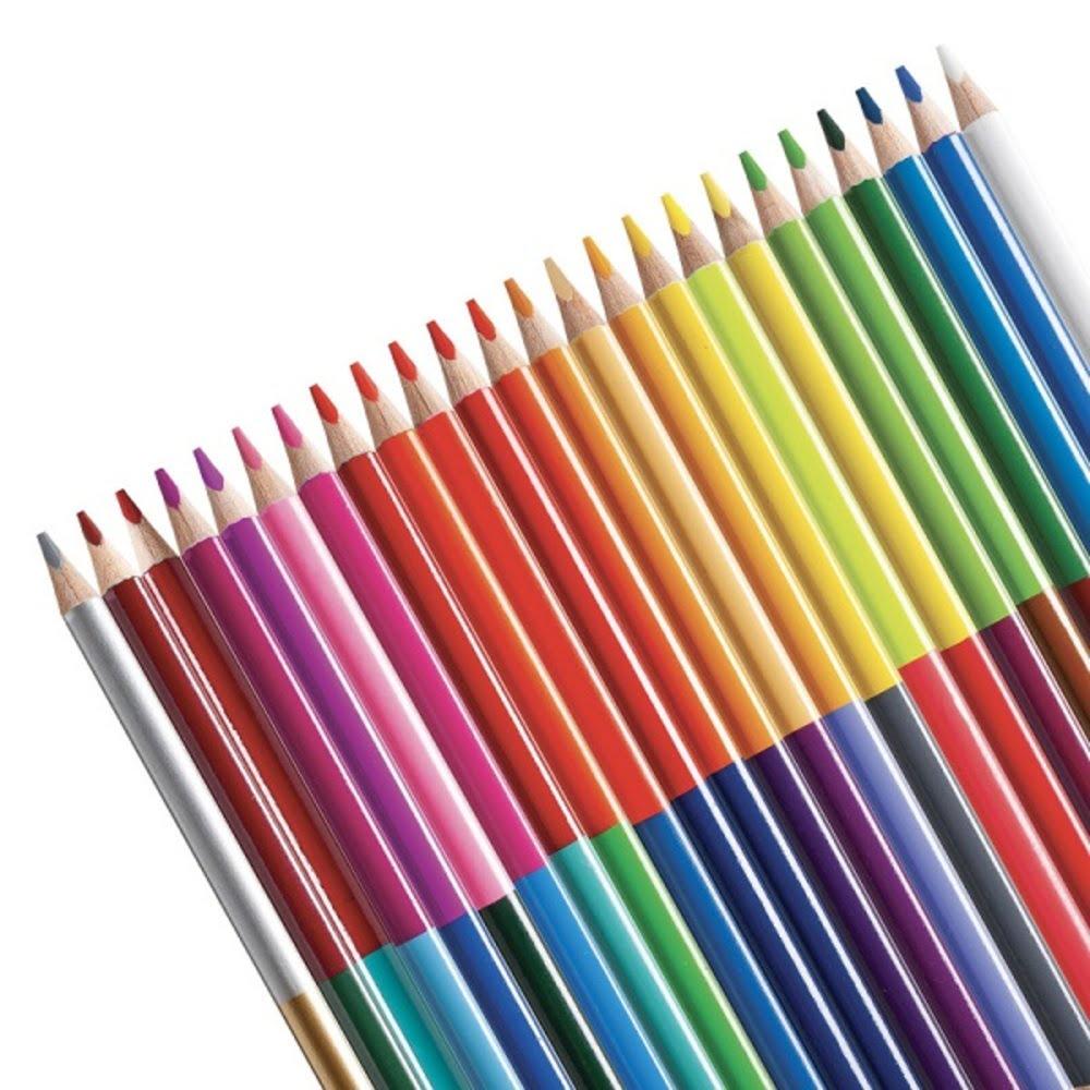 Creioane colorate triunghiulare bicolore CARIOCA, 12 culori/cutie