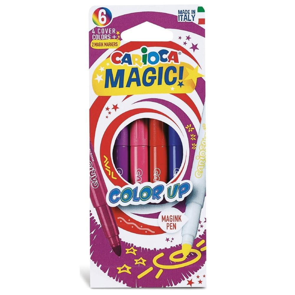 Carioca varf gros, 6mm 4 culori+2 magic marker/cutie Carioca Magic