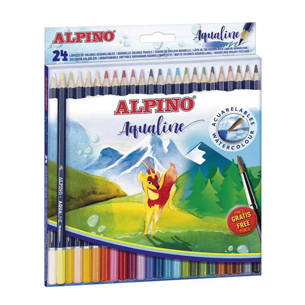Creioane colorate acuarela 24 culori/set, cutie carton, ALPINO Aqualine