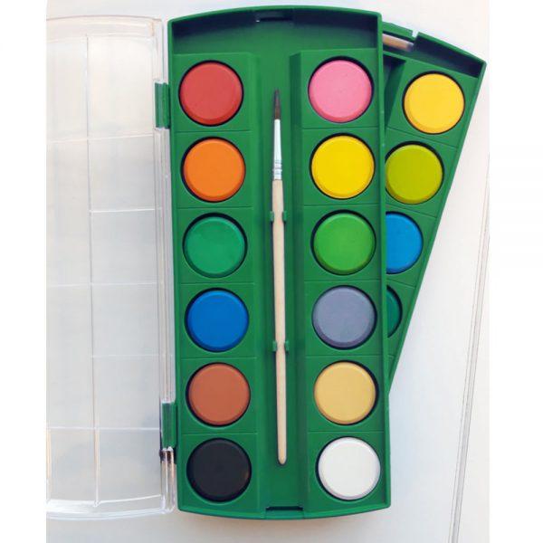 Acuarele 24 culori/cutie + 2 pensule gratis, Alpino