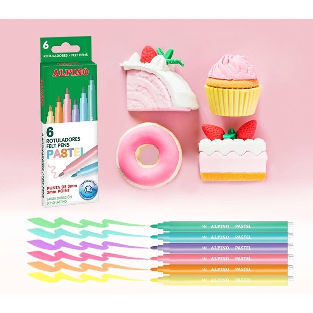Carioci lavabile 6 culori/cutie, ALPINO Standard - culori pastel