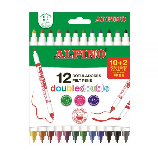 Carioci cu 2 capete, varf subtire/gros, 10 culori/set, ALPINO Double
