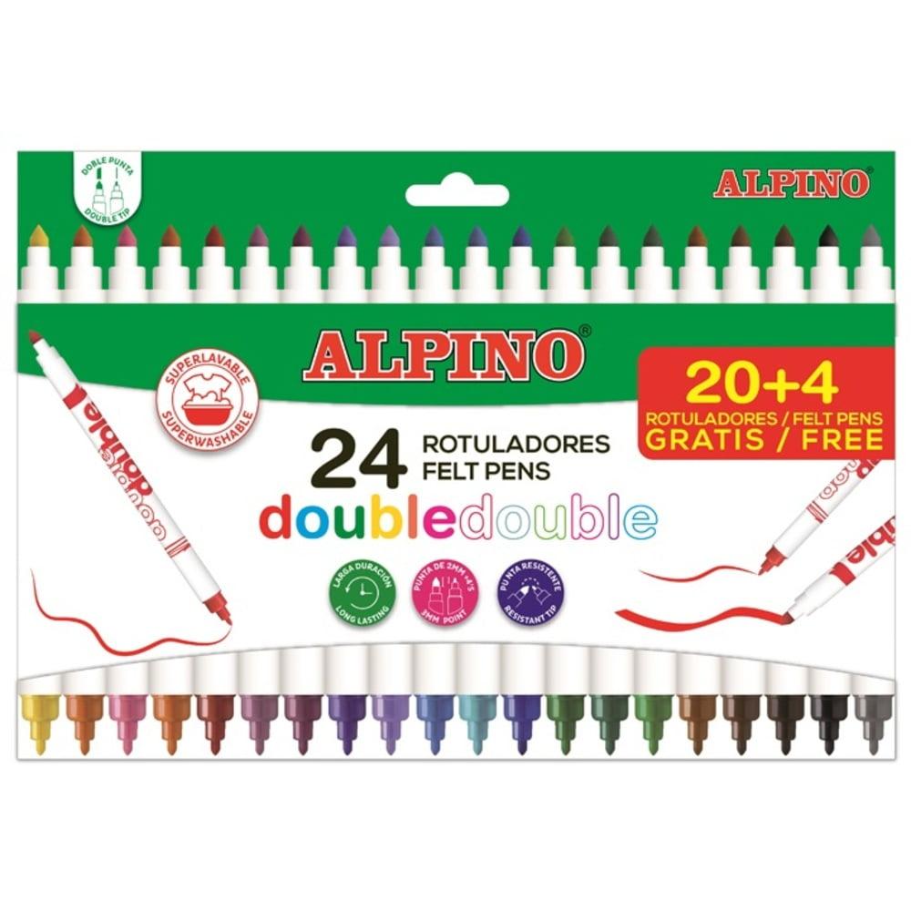 Carioci cu 2 capete, varf subtire/gros, 24 culori/set, ALPINO Double