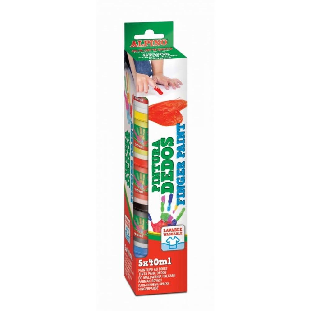Tempera lavabila pentru pictura, 5 culori x 40ml/set, ALPINO Finger Paint