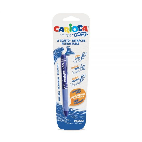 Pix retractabil erasable 0.7mm, CARIOCA Oops - albastru