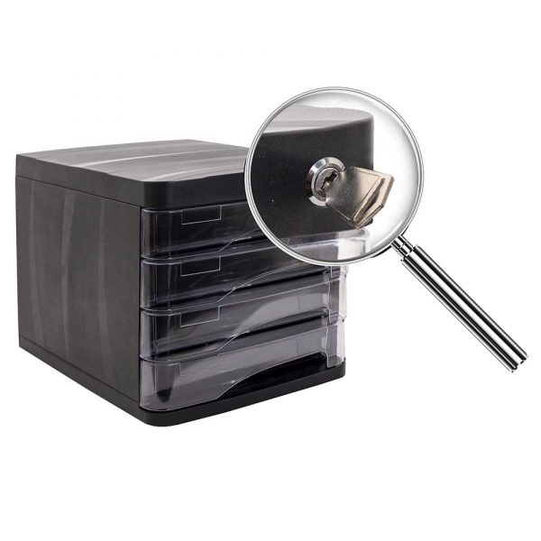Suport documente birou cu 4 sertare si inchidere cheie ARK