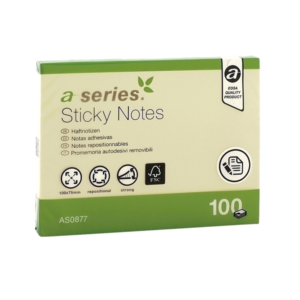 Notes adeziv 75 x 100 mm, galben, 100 file, A-Series