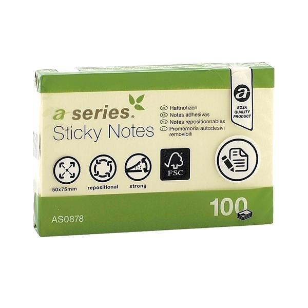 Notes adeziv 50 x 75 mm, galben, 100 file, A-Series
