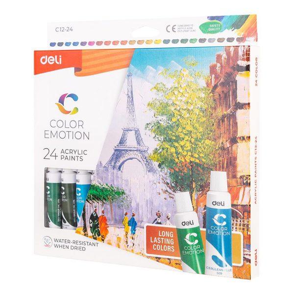 Culori acrilice pictura 24 culori, 12ml, Deli