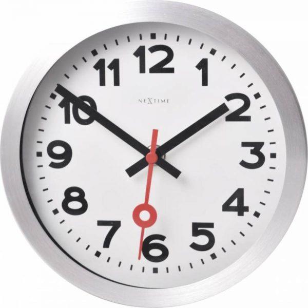 "Ceas de perete, D-19 cm, cifre arabe,aluminiu, NeXtime - ""Station"""