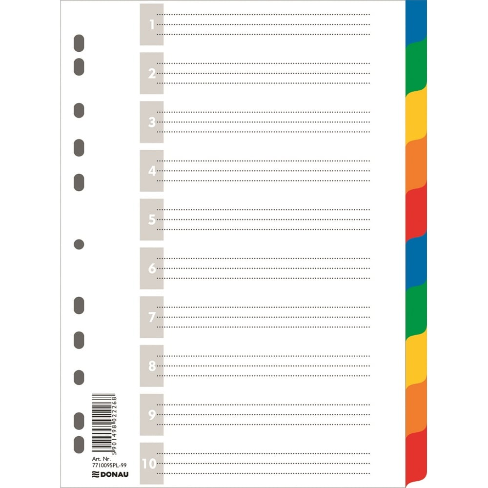 Separatoare plastic color, A4, 120 microni, 10 culori/set, DONAU