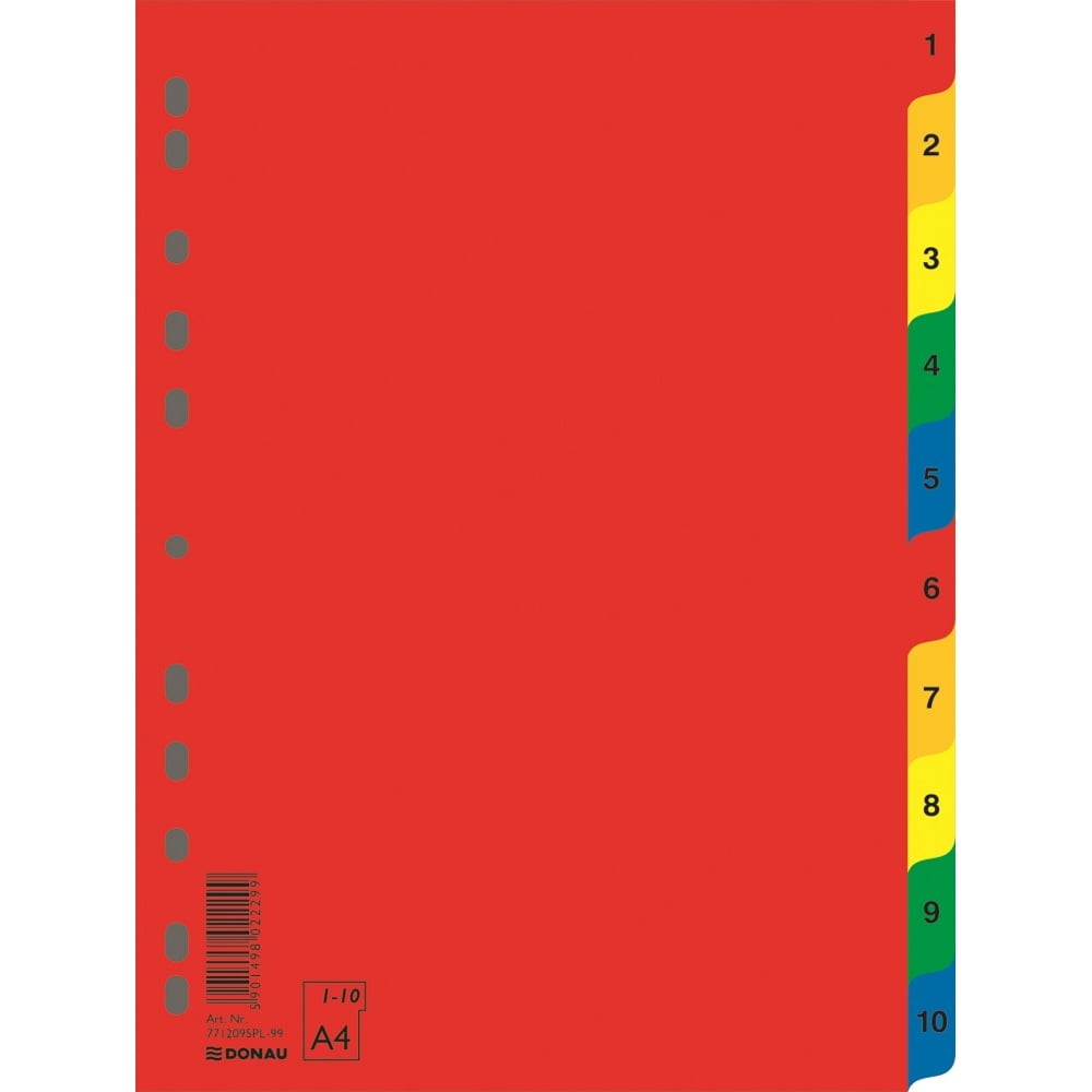 Index plastic color, numeric 1-10, extra wide, A4+, 120 microni, DONAU