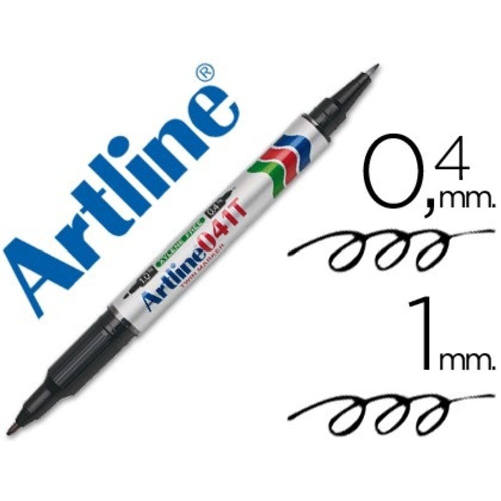 Marker permanent 2 capete ARTLINE 041T, vf. rotund 0.4-1.0mm, negru