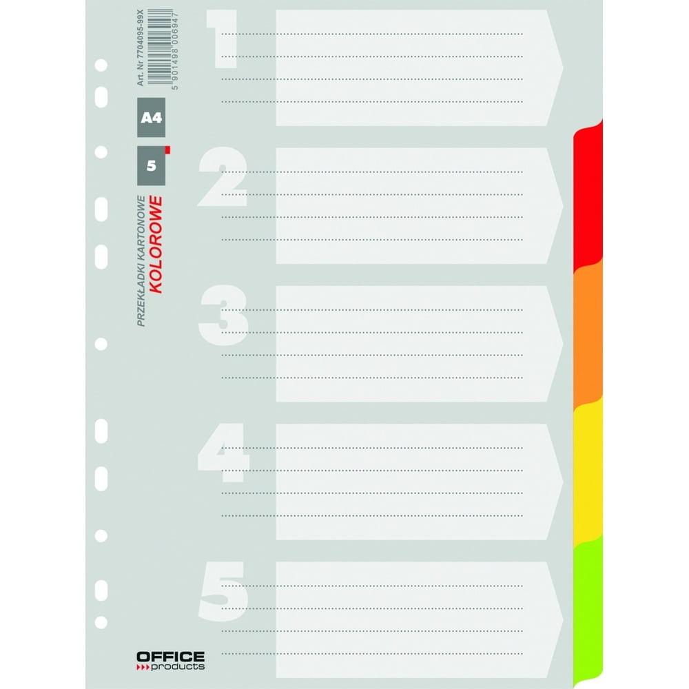 Separatoare carton color A4, 5 culori/set, Office Products