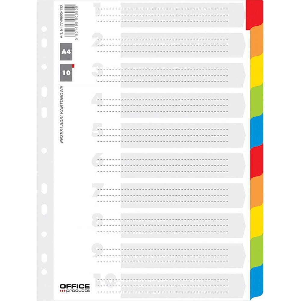 Separatoare carton color A4, 170g/mp, 10 culori/set, Office Producs