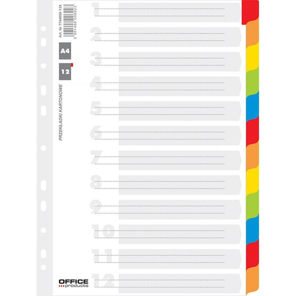 Separatoare carton color 12 culori/set, A4, 170g/mp, Office Products