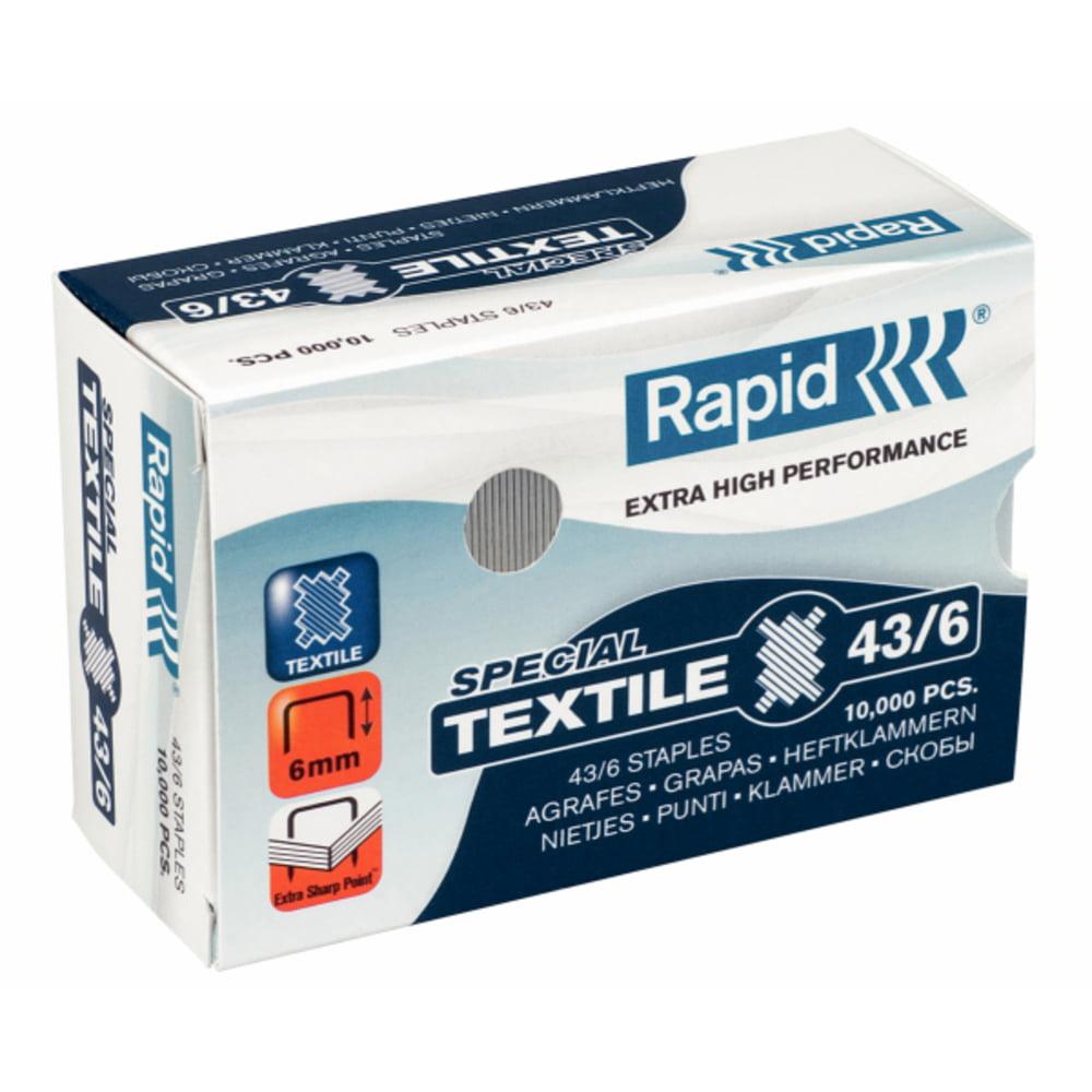 Capse pentru textile Rapid Super Strong, 43/6 G, 10000/cutie