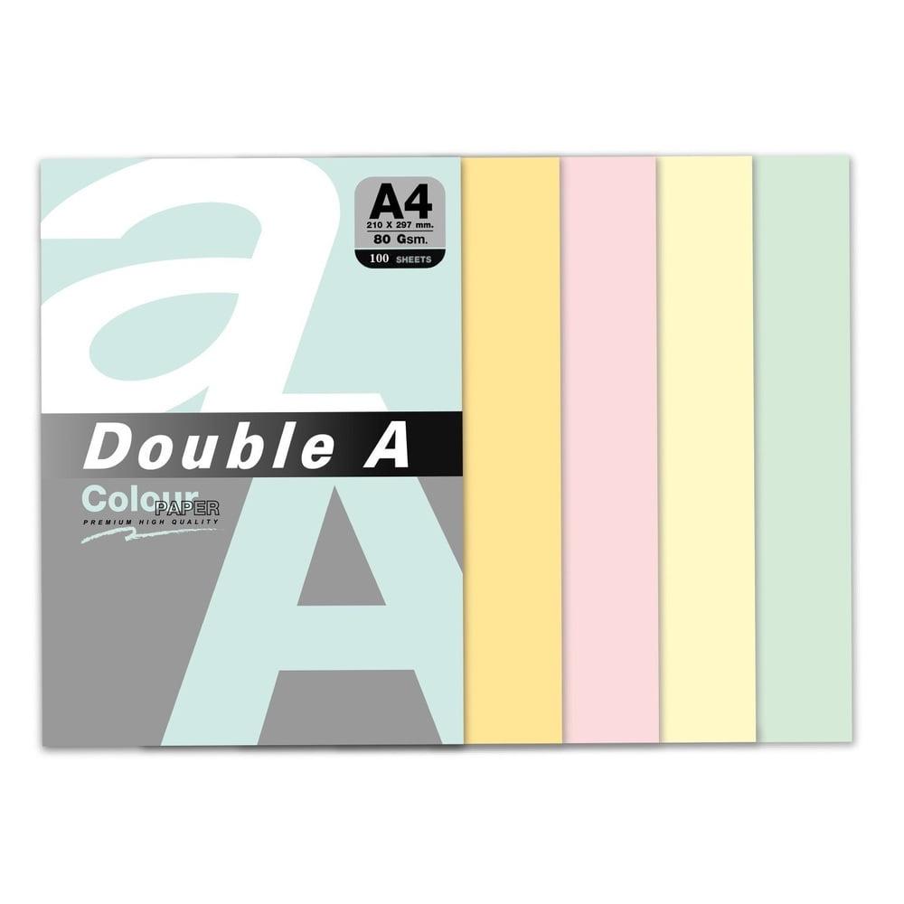 Hartie color copiator A4, 80g/mp, 100coli/top, Double A - 5 culori pastel asortate