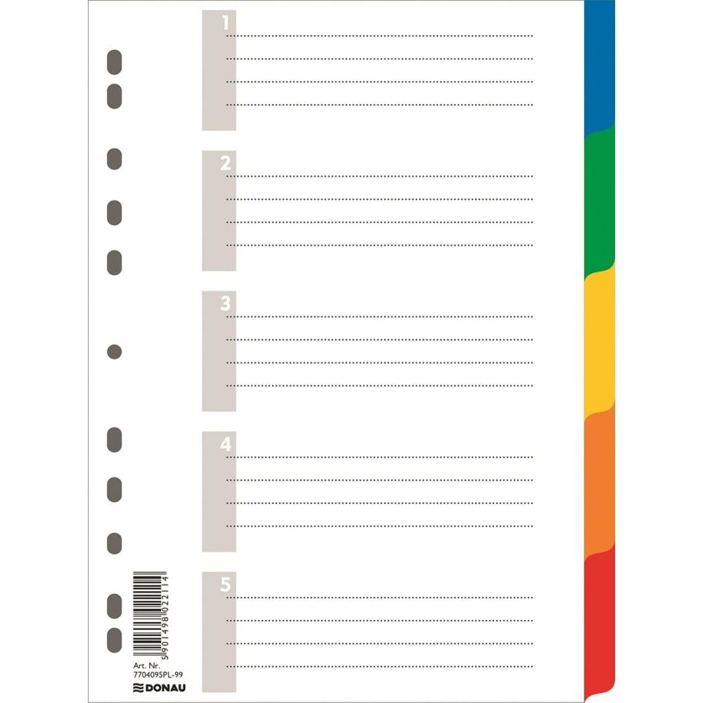 Separatoare plastic color, A4, 5 culori/set, DONAU