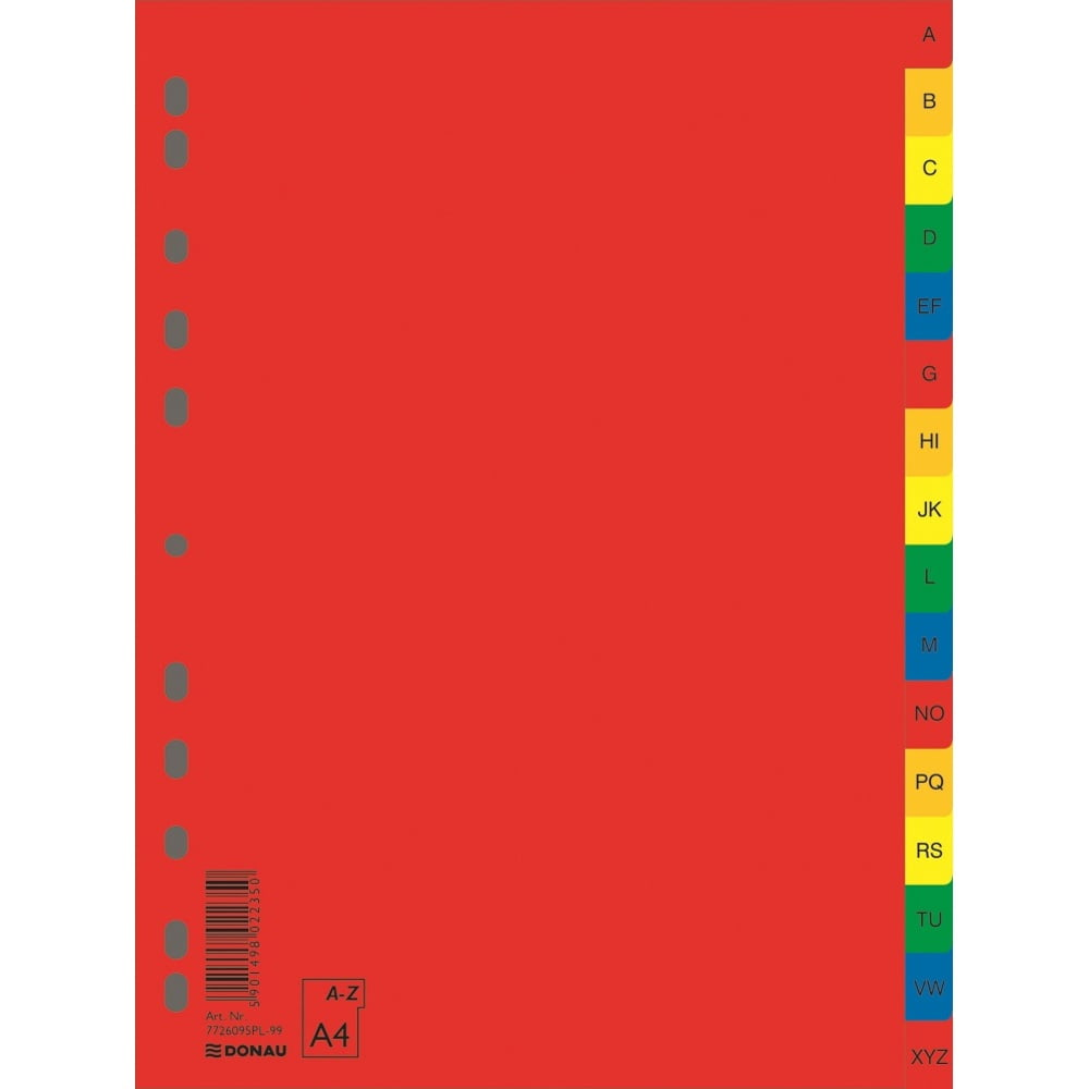 Index plastic color alfabetic A-Z, extra wide, A4+, DONAU