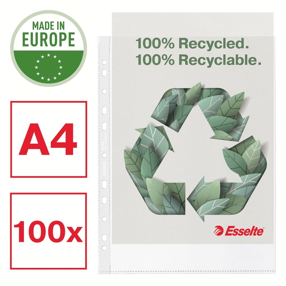 Folie de protectie Esselte Recycled, A4, 70 mic, 100 buc/cutie